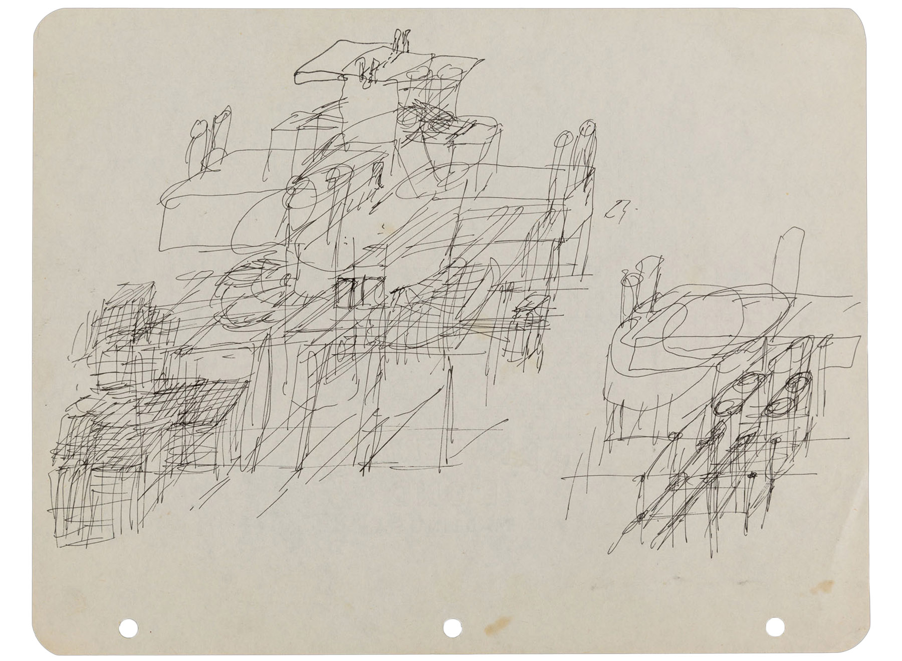 sketch for the underground city, Walter Pichler, 1960-63
