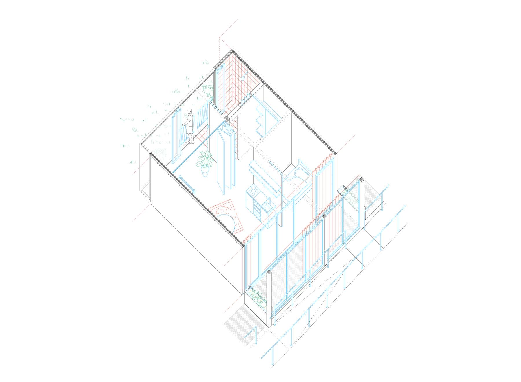 apartment, axonometric projection