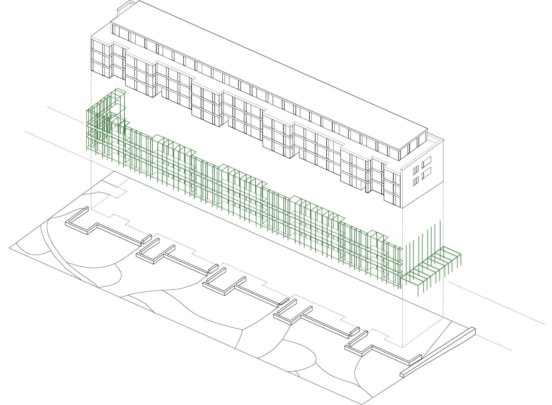 building with pergola