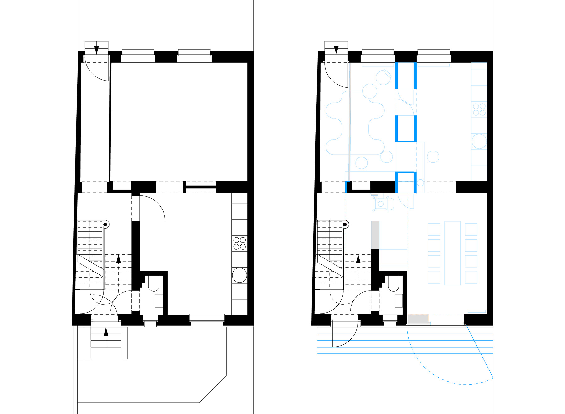 ground floor, before and after