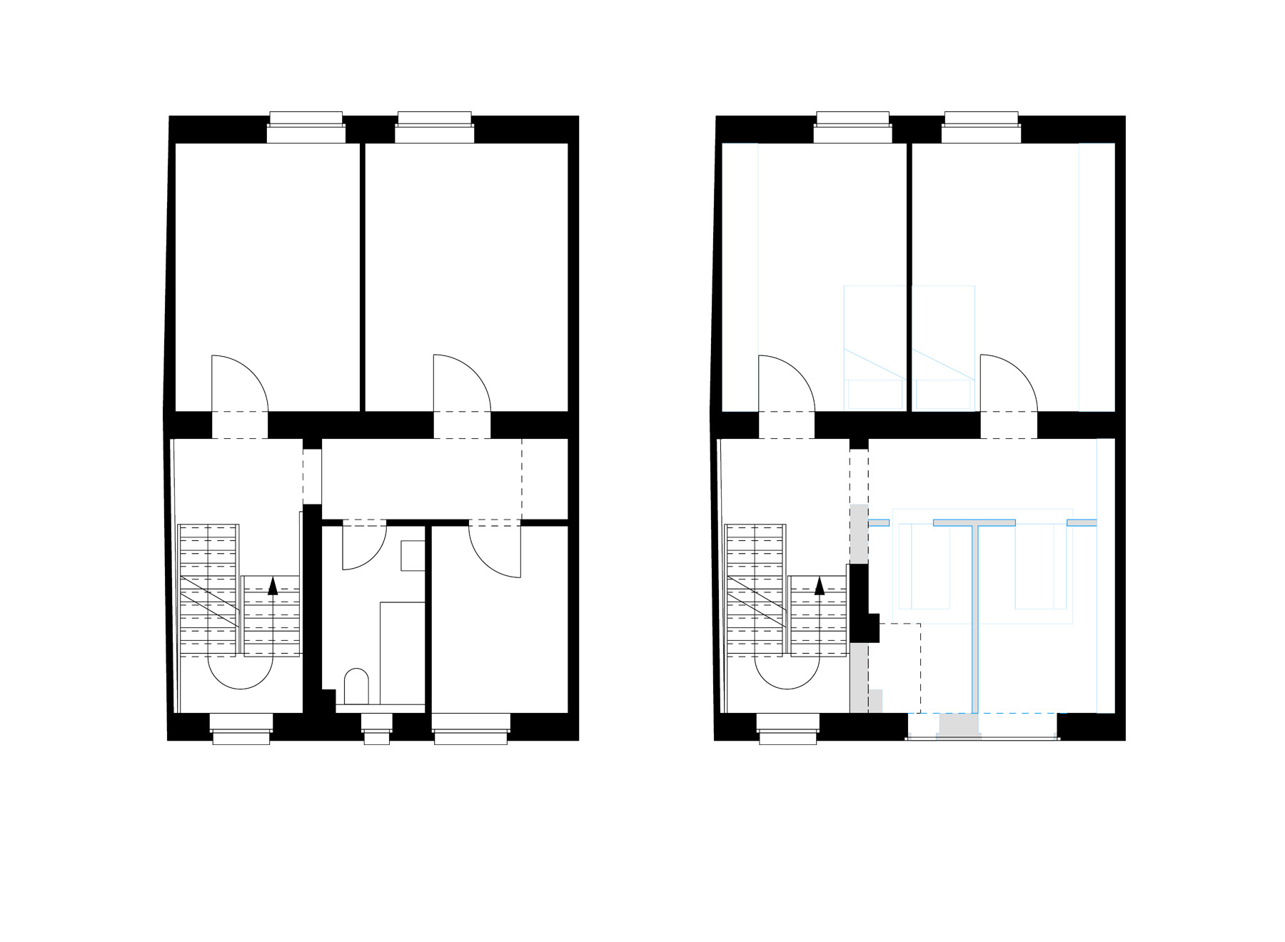 second floor, before and after