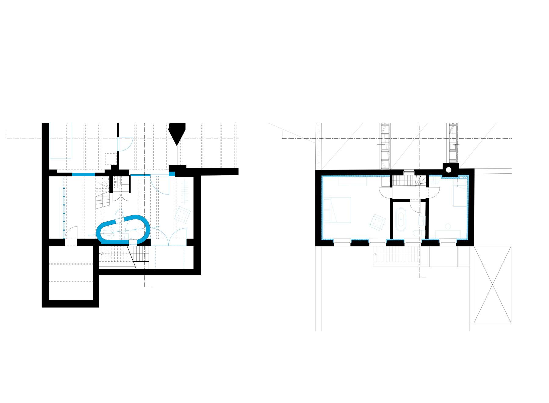basement and upper floor plan