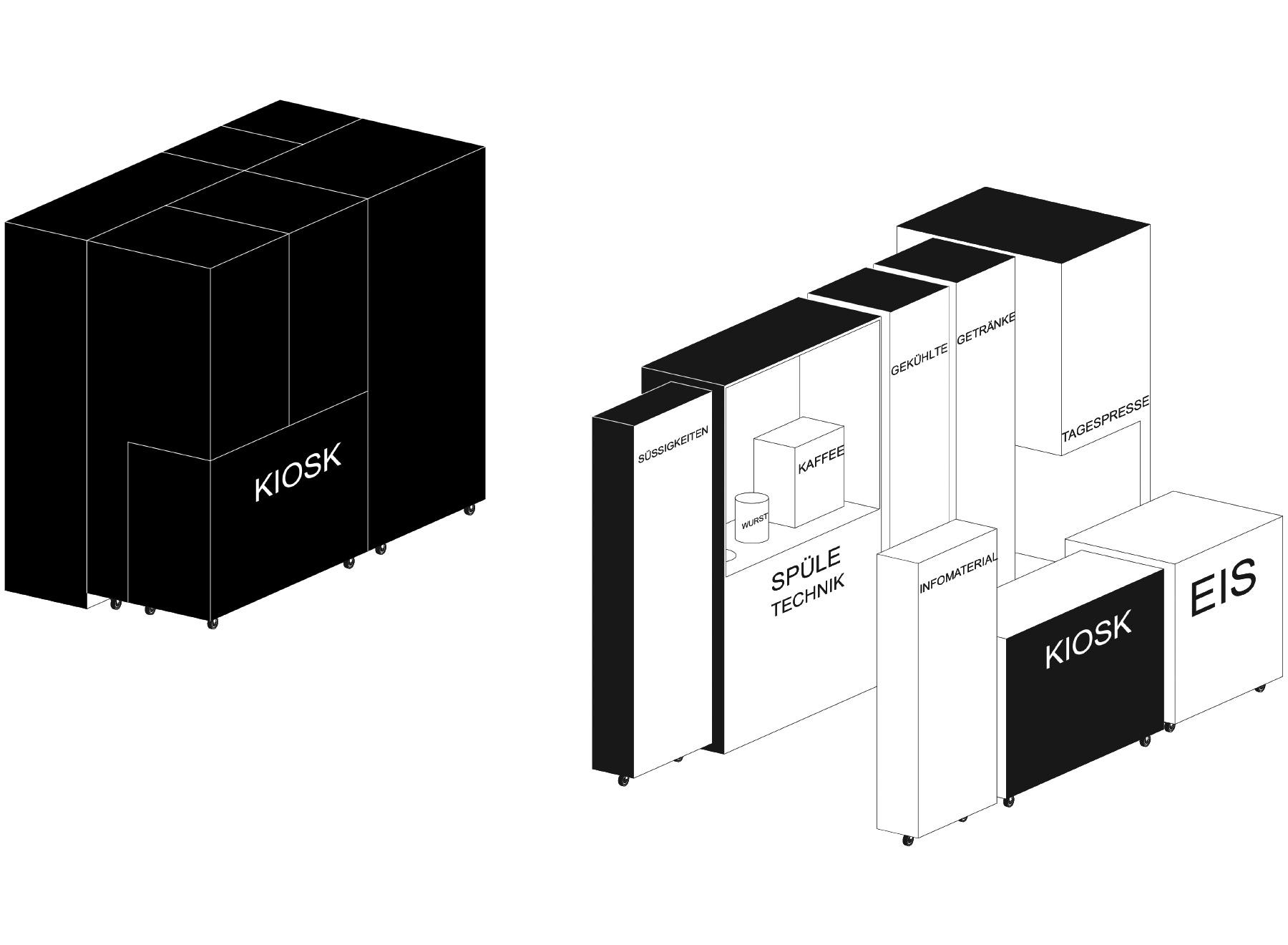 kiosk with flexible furniture