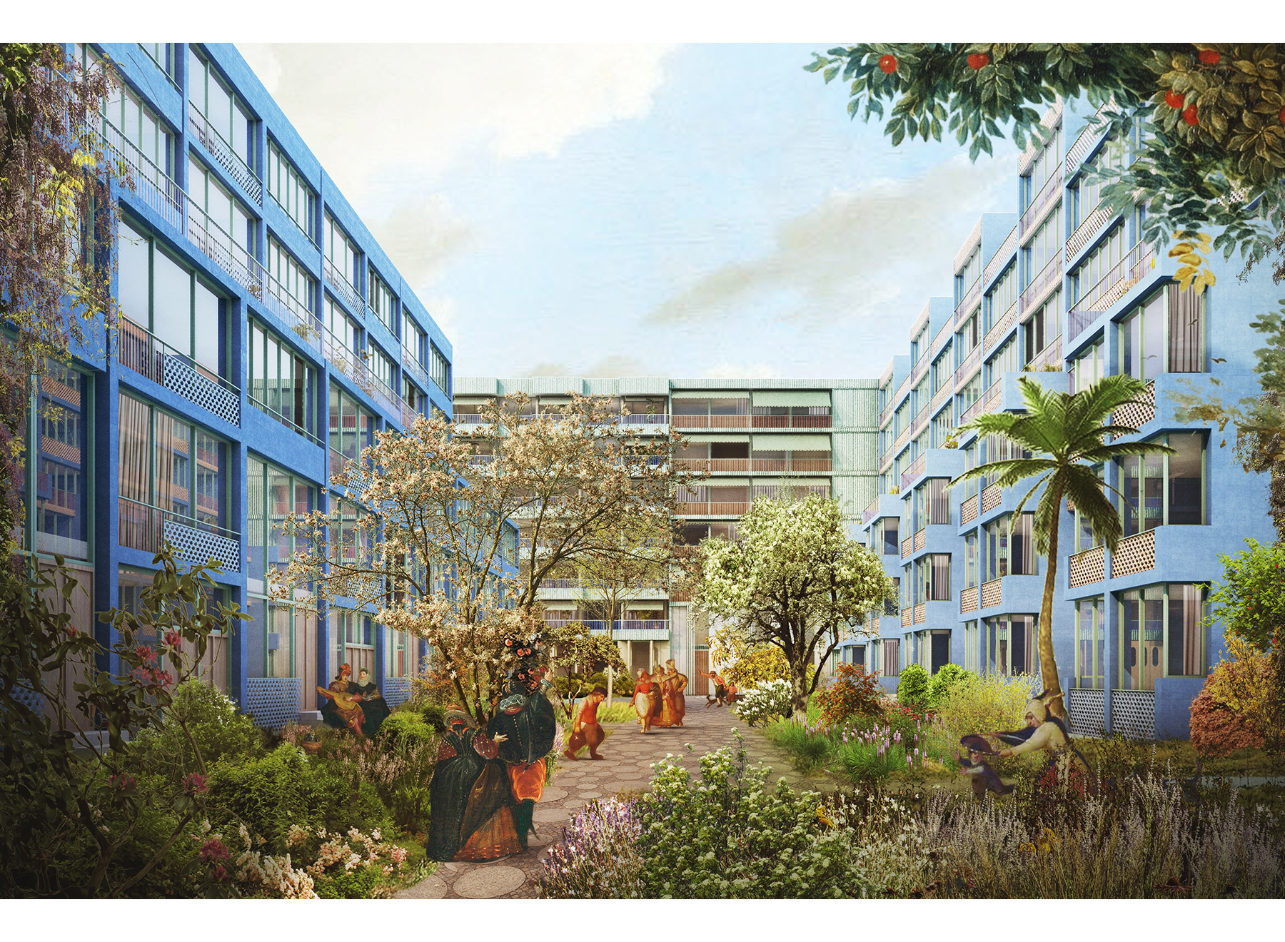 central residential yard, rendering: Ponnie Images